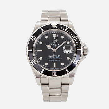 ROLEX, Oyster Perpetual Date, Submariner (1000ft=300m), armbandsur, 40 mm.
