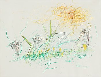 405. ROBERTO MATTA, ROBERTO MATTA, pastel on paper, signed.