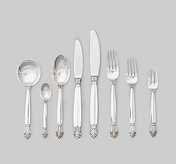 "126. Johan Rohde, a set of 94 pieces of ""Acanthus"" sterling and stainless steel flatware, Georg Jensen, Copenhagen post 1945."