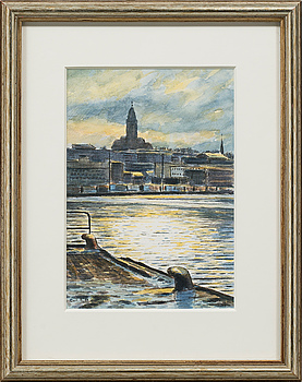 CARL BJERKÅS, watercolours, signed and dated 88.