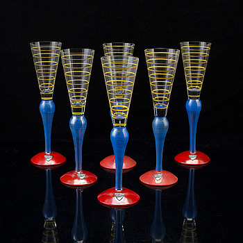"6 pcs of glasses ""Clown"" by Anne Nilsson, Orrefors, 1980's."