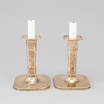 A pair of steling silver candlesticks by Atelier Borgila, Stockholm, 1951.