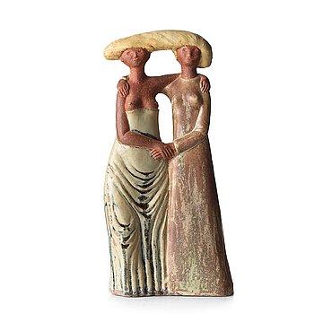 "70. STIG LINDBERG, a stoneware sculpture ""The Sisters"", Gustavsberg studio, Sweden 1940's."