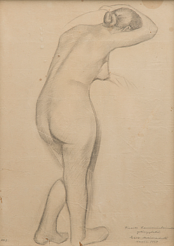 EERO NELIMARKKA, pencil drawing, signed and dated 1927, with 1928 dated dedication.