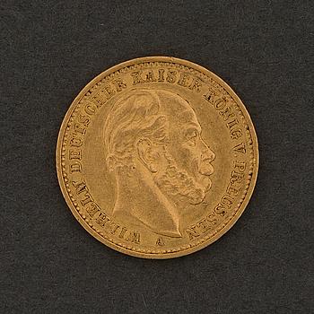 GULDMYNT, 20 mark, Wilhelm I, 1883.