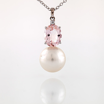 NECKLACE, with cultured pearl, faceted morganite and brilliant cut diamond.