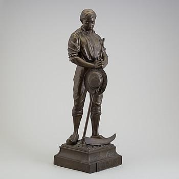 ARTHUR WAAGEN, skulptur, patinerad metall, signerad, omkring 1900.