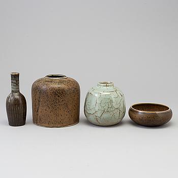Four pcs of stoneware vases by Carl-Harry Stålhane, Rörstrand,