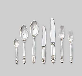 "129. Johan Rohde, a set of 83 pieces of ""Acorn"" sterling and stainless steel flatware, Georg Jensen, Copenhagen post 1945."