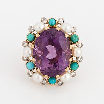COCKTAILRING, med ametist, turkoser, odlade pärlor och diamanter.