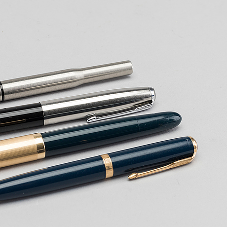Parker pens, four pcs, fountain pens and pencil
