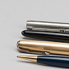 Parker pennor, fyra stycken, resarvoir och blyerts