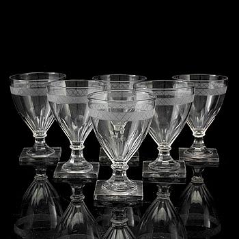 ÖLGLAS, 6 st, glas, 1800-tal.