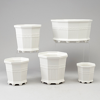 "A set of 5 Swedish ""Waldemarsudde"" porcelain planters, designed  by Prince Eugen in 1915, for Gustavsberg."