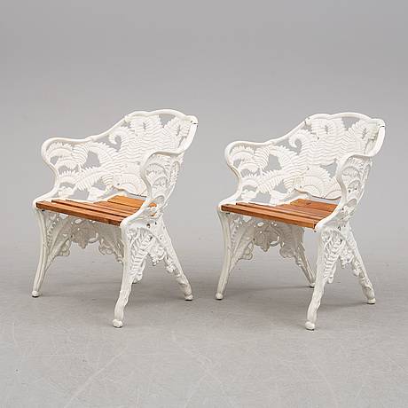 Garden furniture, four pieces, metal, end of the 20th century
