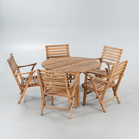 A garden group of 6 pcs, designed by carl malmsten for igelstaverken ab, sweden, second half of the 20th century