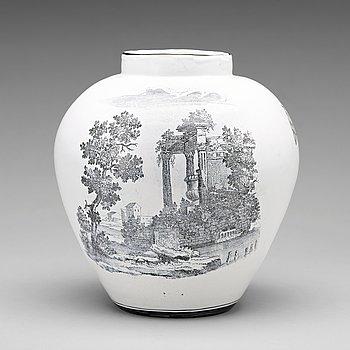 260. A Swedish Marieberg faience jar, 18th Century.