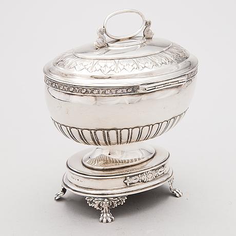 Carl petter lampa, sockerskrin, silver, empire, stockholm 1827