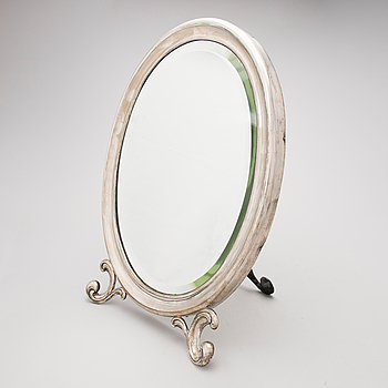 a russian silver table mirror, F Lorie, Moscow 1899-1908.