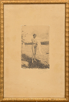 ANDERS ZORN,  etsning, signerad med blyerts, daterad 1919 i plåten.
