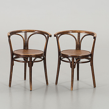A PAIR OF ARM CHAIRS, THONET, first half of the 20th century,