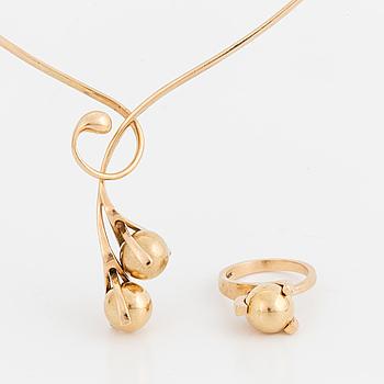 COLLIER och RING, 14K guld med utbytbara stenkulor.