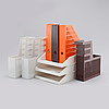 Six (3+3) journal holders and three file drawers, by huskvarna borstfabrik and sinjet, 1970/80s.