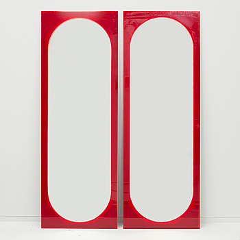 A pair of mirrors, possibly designed by Gino Colombini for Kartell, 1970/80s.