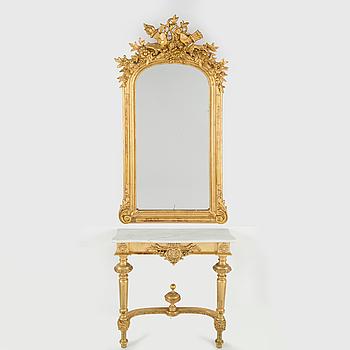 SPEGEL med ej sammanhörande konsolbord, rokokostil, 1800-talets slut.