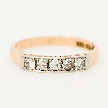 RING, gammalslipade diamanter, 14K guld. Tarkiainen, Helsingfors 1958.