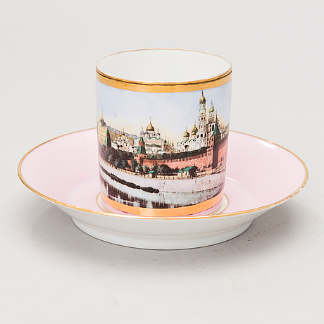 A russian kornilov porcelain coffee cup, 1861-1881.
