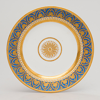 A RUSSIAN PLATE, Imperial porcelain factory, St. Petersburg, period of Nicholas II 1898?.