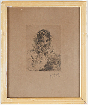 ANDERS ZORN, ANDERS ZORN, Etching, 1913, signed in pencil.
