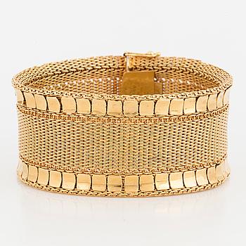 ARMBAND, 18K guld, vävt mönster med rektangulära guldplattor på kanterna.