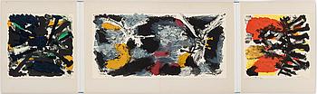 """OLLE BONNIÉR, färglitografier, 3 st, """"Triptyk"""". Signerade Bonniér, daterade -64 och numrerade HC XI/XL."""