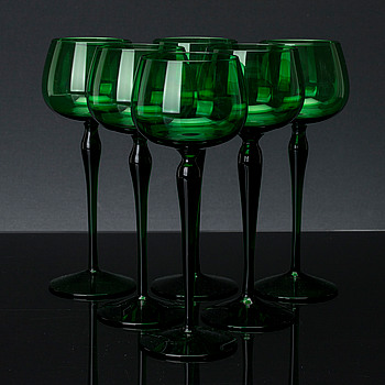 NILS LANDBERG, Vitvinsglas, 11 st, Sandviks glasbruk 1900-talets mitt/andra hälft.