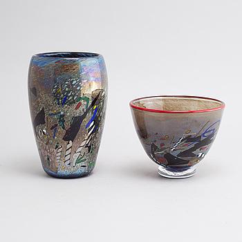 BERTIL VALLIEN, vaser, 2 st, glas, Kosta Boda Atelier, daterade -93.