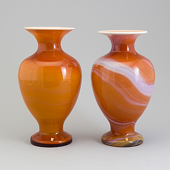 A pair of glass vases from Johansfors, 1995.