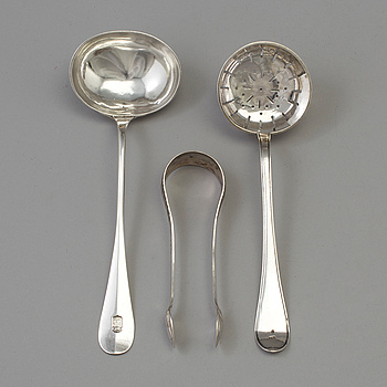 Three pieces of Swedish silver cutlery, 18th-19th Century.