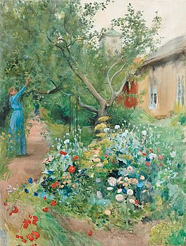 518. Carl Larsson, Garden Scene from Marstrand on the West Coast of Sweden.
