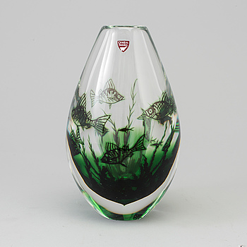 "EDWARD HALD, vas, glas, ""Fiskgraal"", Orrefors."