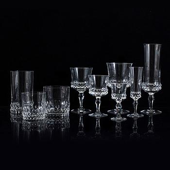 """INGEBORG LUNDIN, glasservis, 75 delar, """"Silvia"""", Orrefors, 1900-talets andra hälft."""