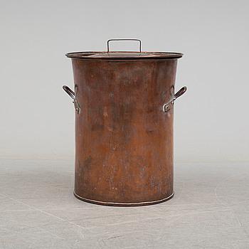 A late 19th century copper barrel.