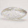 A caviar bowl, silver and cut glas, russia, moscow 15th artel, dated 1914.