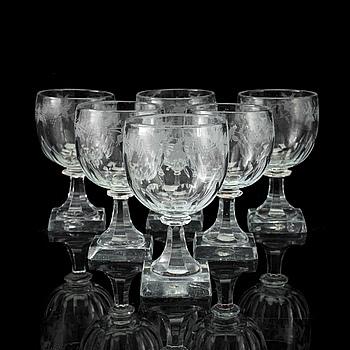 VINGLAS, 6 st, glas, 1800-tal.