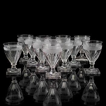 VINGLAS, 12 st, glas, 1800-tal.