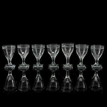 VINGLAS, 7 st, glas, 1800-tal.
