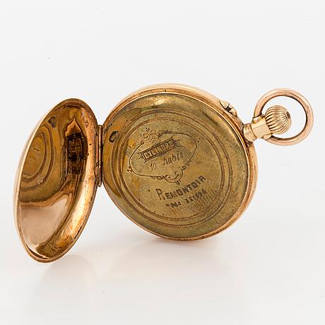 "Damfickur, 14k guld, schweizisk stämpel, ""cylindre 10 rubis, remontoir no 351595"""