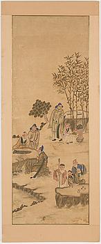 MÅLNINGAR, två stycken, tusch och färg på siden. Kina, 1900-tal.