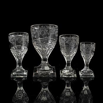 GLASSERVIS, 15 delar, glas, 1800-tal.